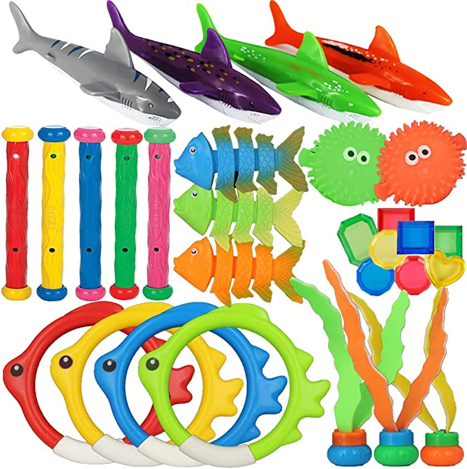 heytech 17 Pack Dive Pool Toys Blaster Torpedo Dive Rings and ...