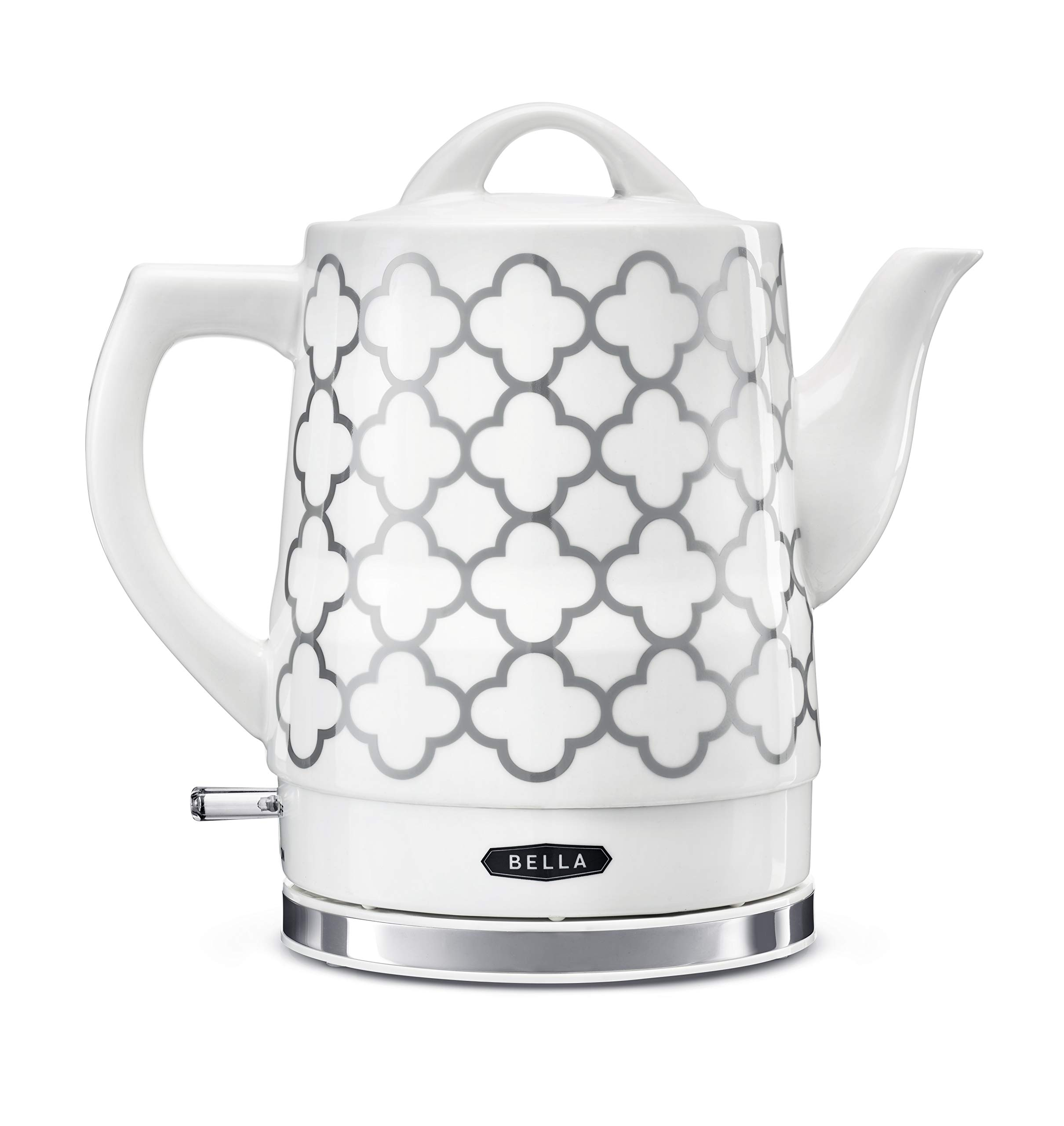 BELLA (14745) 1.5 Liter Electric Ceramic Tea Kettle with Boil Dry Protection & Detachable Swivel Base, Silver Foil