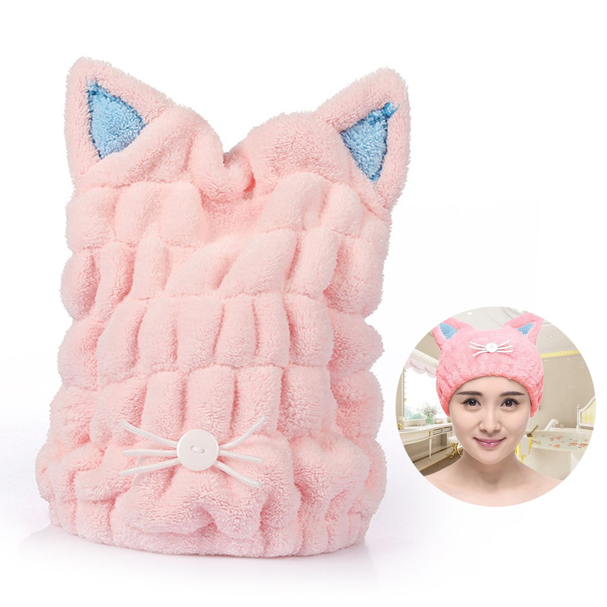 Soft Microfiber Cute Cat Ear Hair Drying Cap Super Absorbent Quick Drying Hair Towel Wrap With Coral Fleece For Womens Girls Ladies Bath Accessories (Blue) Suces