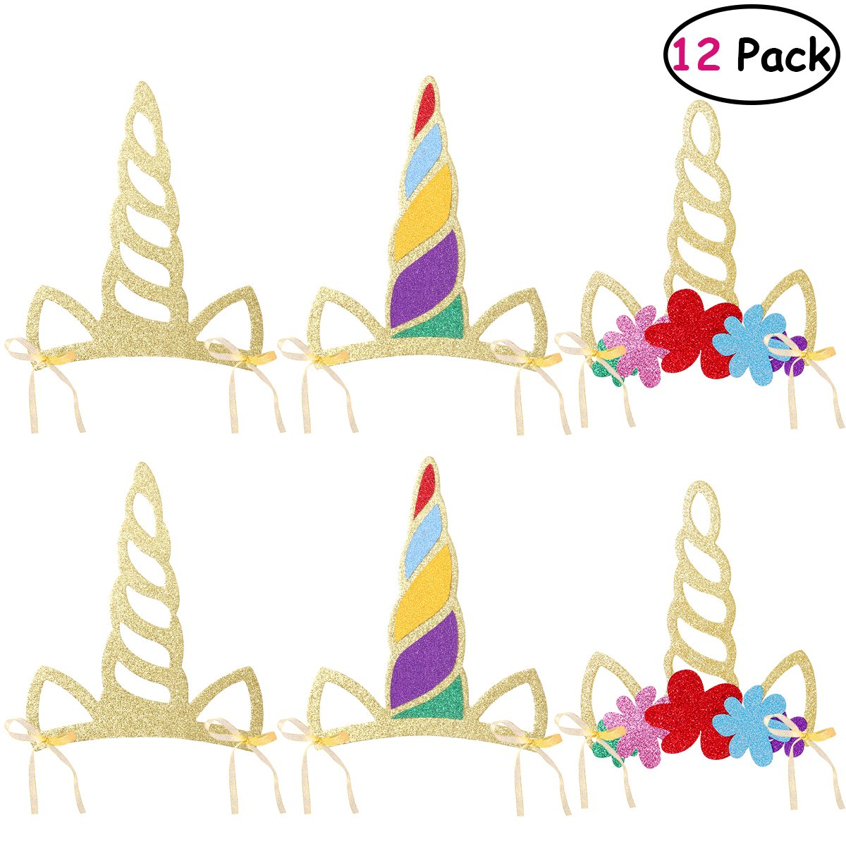 Amazon.com  OULII Unicorn Horn Hats Headband Glitter Party Hats Crown Unicorn  Theme Party Supplies for Kids Baby Shower Birthday Photo Props 12PCS  Toys    ... 91d1dd4f9300