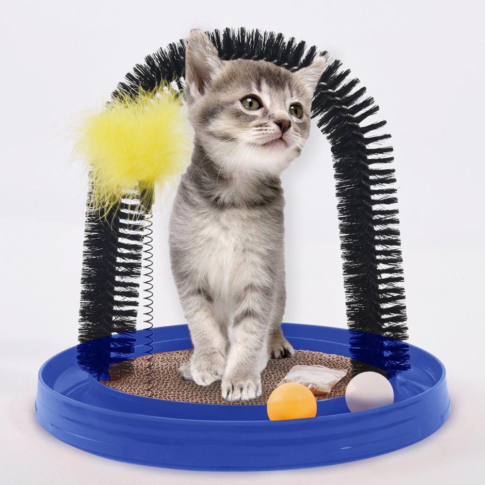 AMOMI PET Multi-Use Cat Scratch and Groom Pad with Self Grooming Arched Brush,Free Captin,Hanging Mouse Toy,Captive Ball,Detachable Cardboard Cat Scratcher,Interactive Kitten Toys