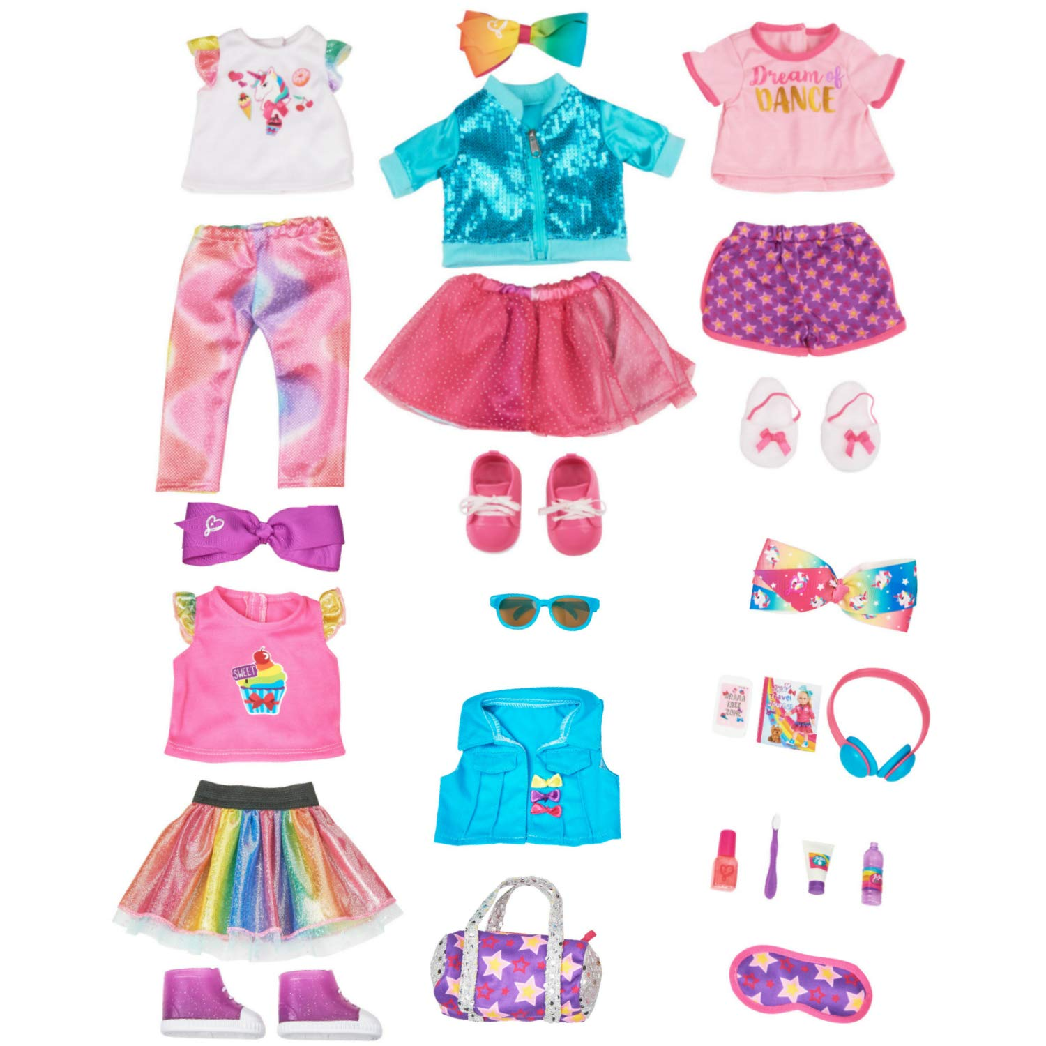 2bd7cac5ef279 Amazon.com: myLife Brand Products JoJo Travel Set and JoJo Doll Outfits, 24  Piece Bundle: Toys & Games