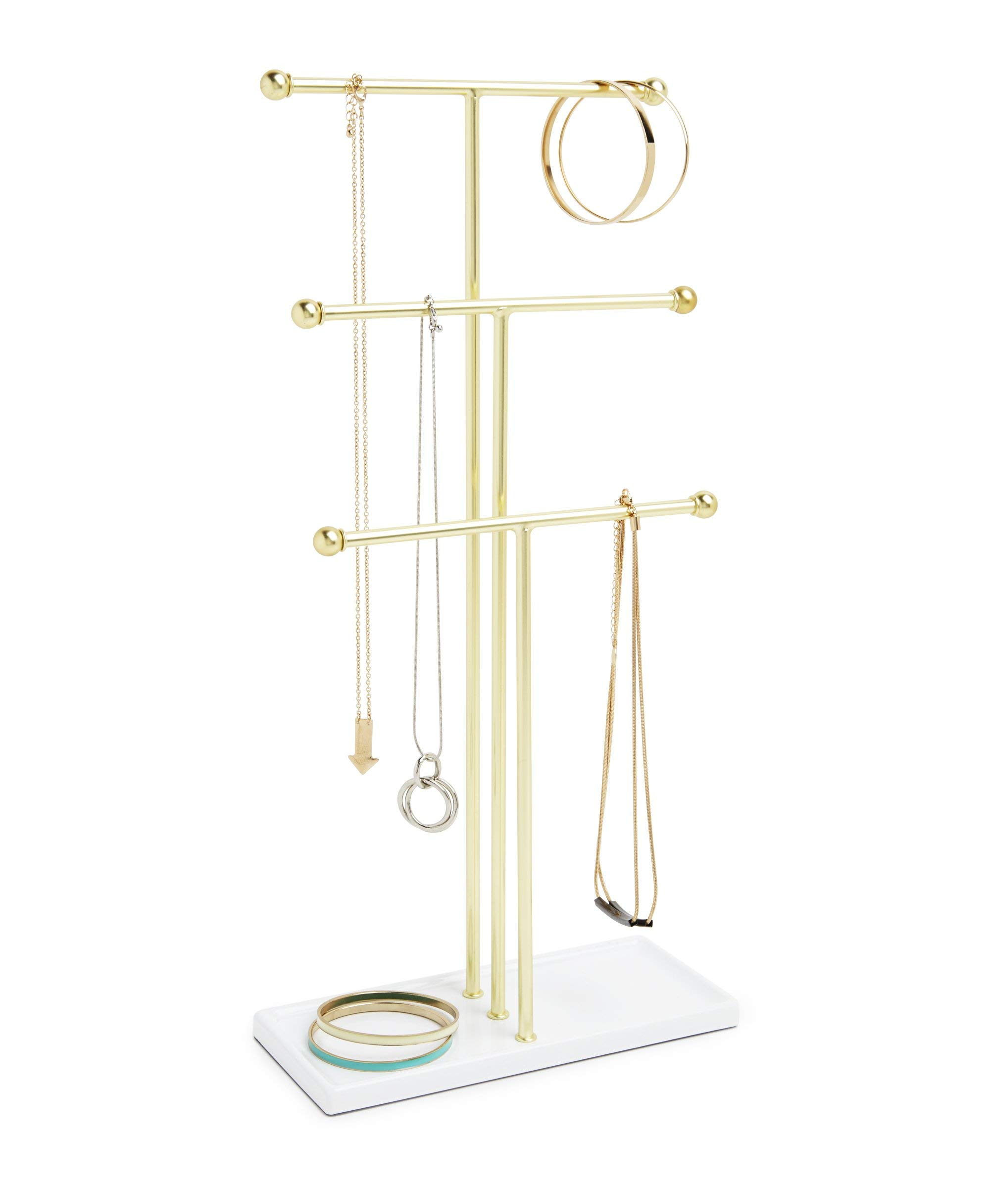 Umbra Trigem Hanging Jewelry Organizer - 3 Tier Table Top Necklace Holder and Display, White/Brass by Umbra