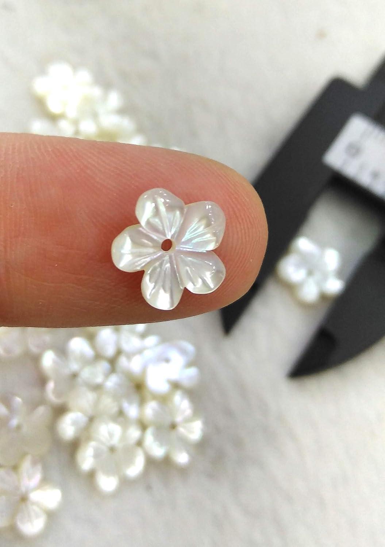 200 pcs Natural MOP Shell Flower Beads,White Shell Flower Beads,Shell Flowers