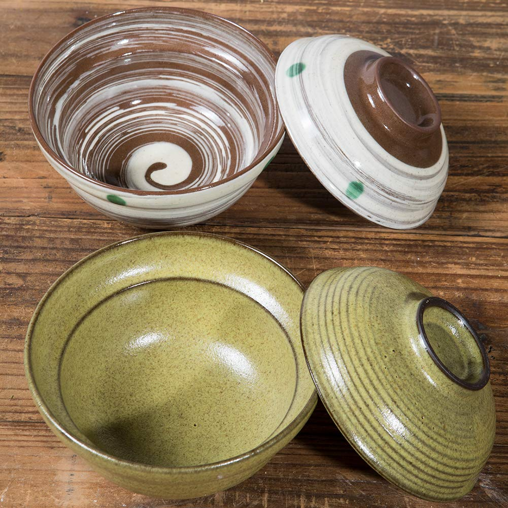 Japanese 27.3 OZ Big Ceramic Coarse Pottery Bowls with Lid Serving Ramen Noodle Soup Rice (Dark cyan)