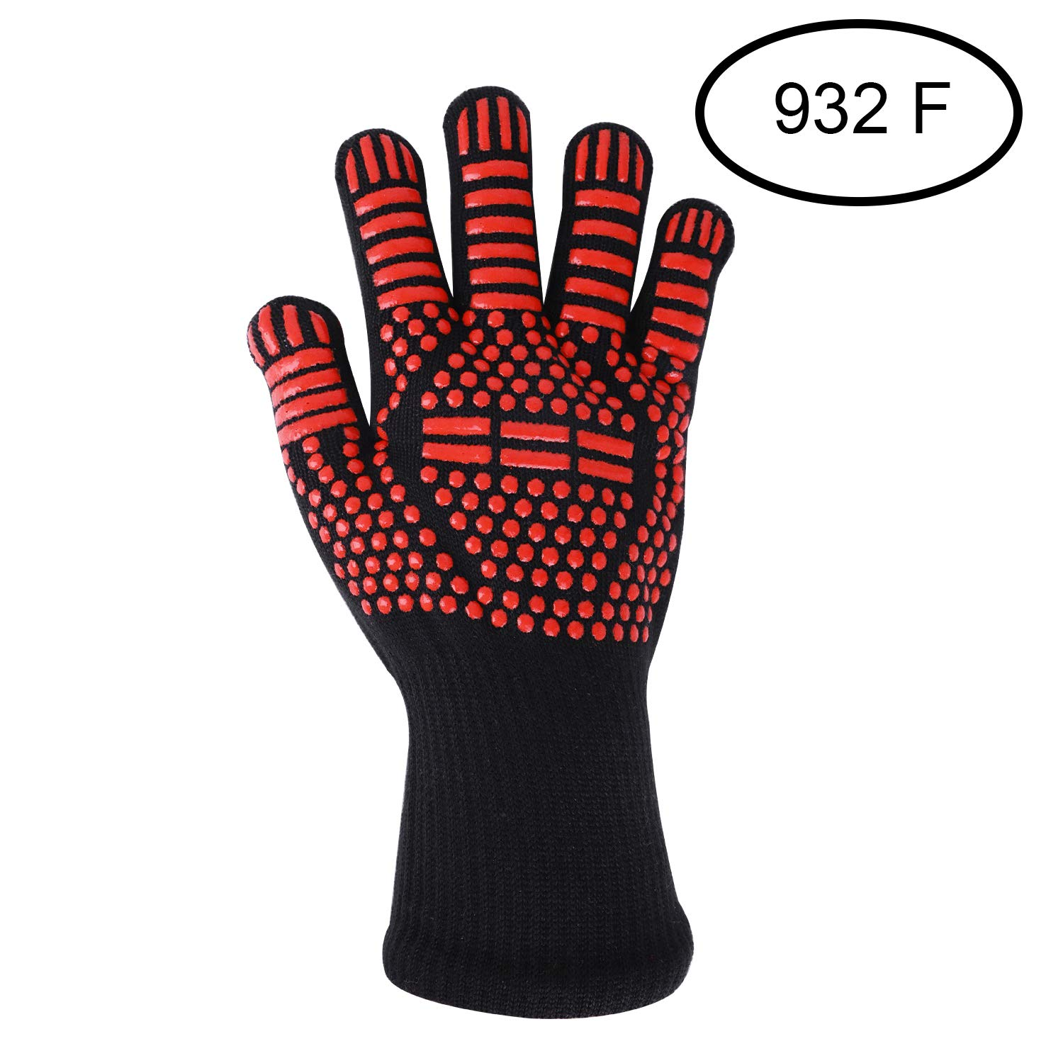 Hot Oven Mitts Gloves Anti-slip Silicone Cotton Pot Holder Professional Heat-Resistant Fireproof Gloves for Cooking Baking Barbecue BBQ Microwave Oven Toaster BBQ Grilling Kitchen 932℉ One Piece
