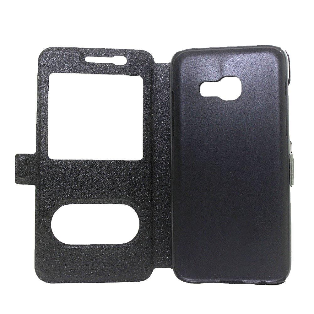 Noir LUSHENG Coque pour Samsung Galaxy A5 2017,Souple PU Cuir Leather /Étui Flip avec Transparente Vue Fen/être Texture de la Soie Cover Houss et Fonction de Support