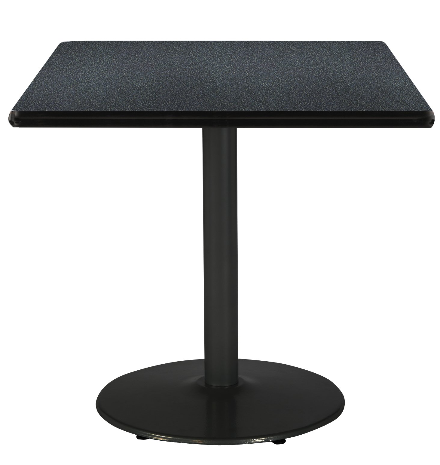 36'' Square Pedestal Table with Graphite Nebula Top, Round Black Base