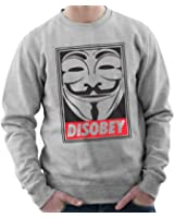 Disobey V for Vendetta Sweatshirt Jumper Black or Heather Grey in Sizes Small to 3XL