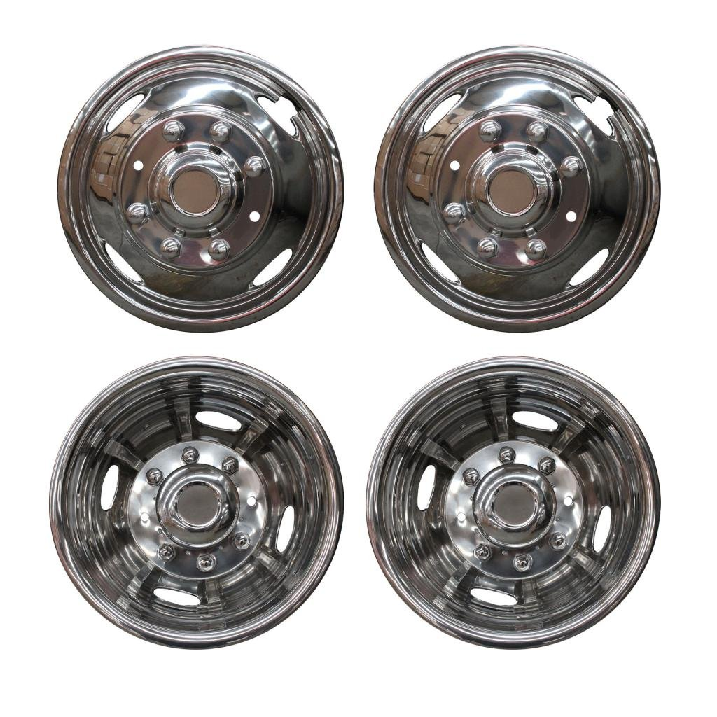 VioGi Fit 4pcs Front+Rear Polished Stainless Steel 17'' Dually 8 Lug 4 Hand Hole Wheel Simulators Hub Caps Skins Liners Covers w/ Installation Kits & Tools