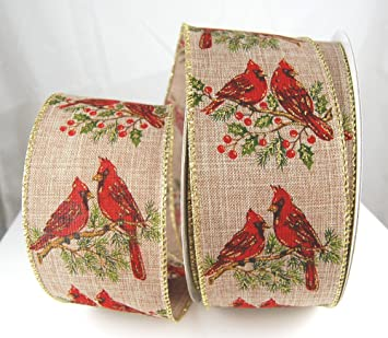 wire edged passerine tan poly burlap and red cardinal christmas ribbon 2 12 - Burlap Christmas Ribbon