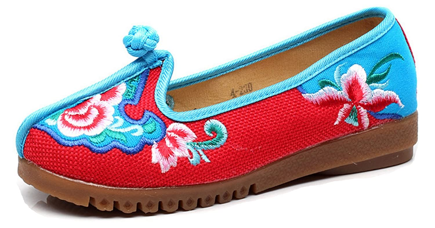 Tianrui Crown Womens Embroidery The Queen Flower Slip-on Loafer Flat Shoe