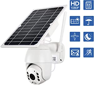 NuCam Solar Powered PTZ WiFi Security Camera Wireless Outdoor 64Gb Memory Card 350°/100° X/Y-Axis Adjustable 1080P HD Colored Night Vision w. PIR Motion Sensor DIY Surveillance System (WiFi)