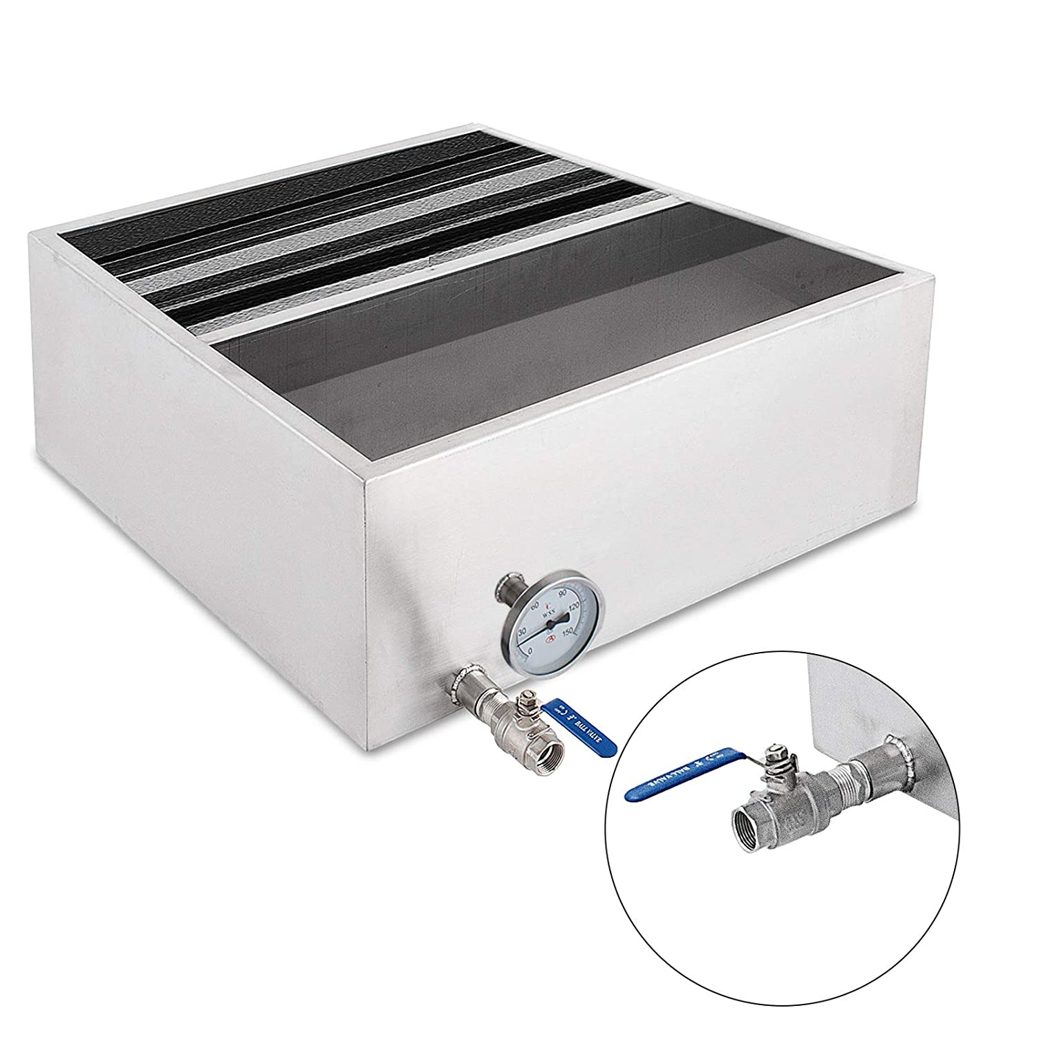 VEVOR Maple Syrup Evaporator Pan Maple Syrup Boiling Pan Stainless Steel Square Pan for Boiling Syrup (Normal, 16