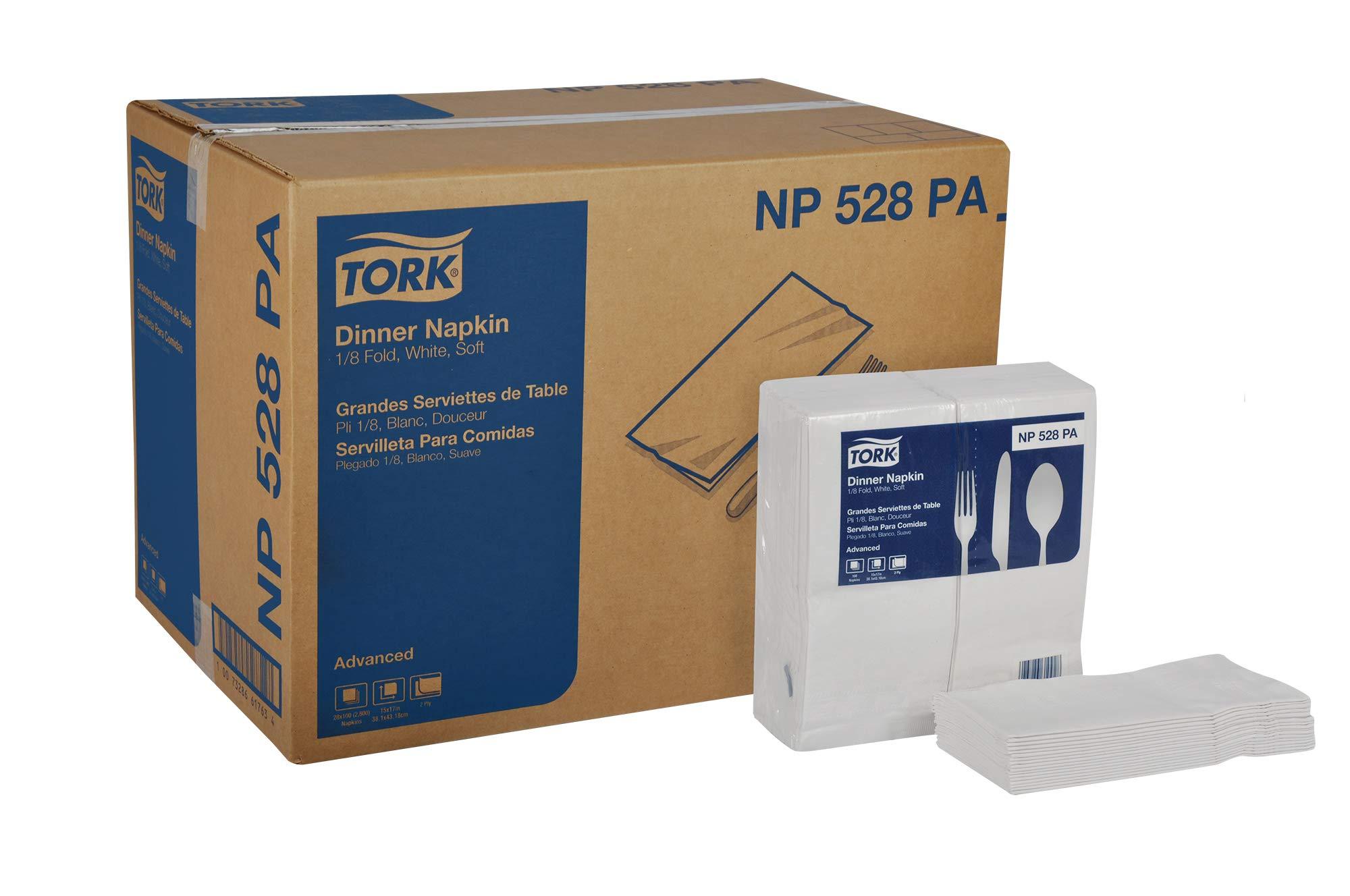Tork Advanced NP528PA Soft Dinner Napkin, 2-Ply, 1/8 Fold, 15'' Width x 17'' Length, White (Case of 28 Packs, 100 per Pack, 2,800 Napkins) by Tork