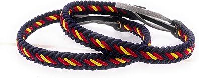 MovilCom® Pack de 2 Pulseras Pulsera de Cuero e Hilo Trenzada Colores Bandera ESPAÑA 2 Unidades Azul: Amazon.es: Joyería