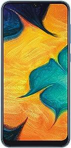 """Samsung Galaxy A30 (64GB, 4GB RAM) 6.4"""" FHD+ Infinity-U Display, 16MP+5MP Dual Camera, Dual SIM GSM Factory Unlocked A305G/DS (International Version, No Warranty w/ 64GB MicroSD Bundle) (Blue)"""