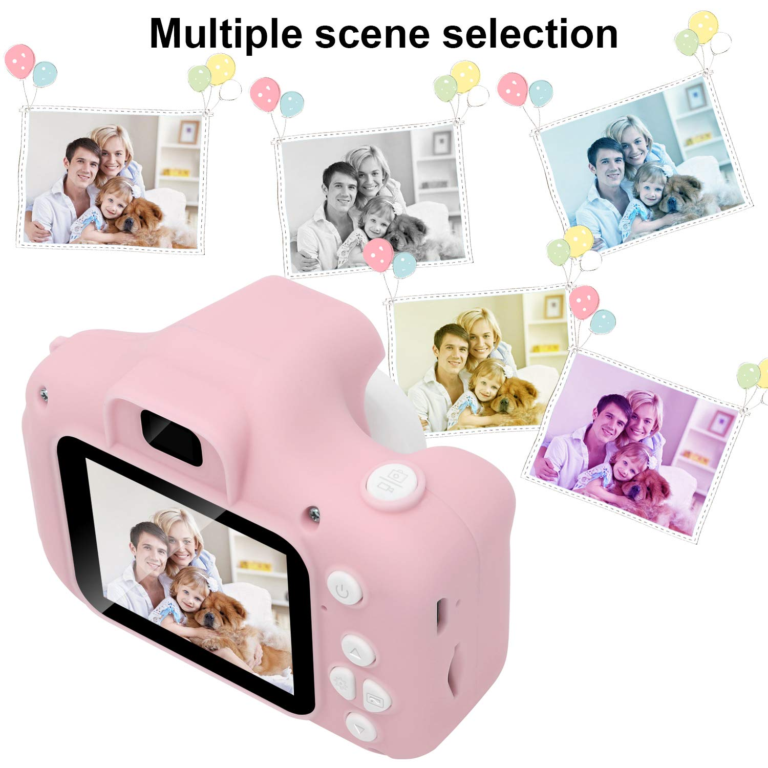 DDGG Kids Digital Camera for Girls Age 3-10,Toddler Cameras Child Camcorder Mini Cartoon Pink Rechargeable Camera Shockproof 8MP HD Children Video Record Camera (16GB Memory Card Included) by DDGG (Image #5)