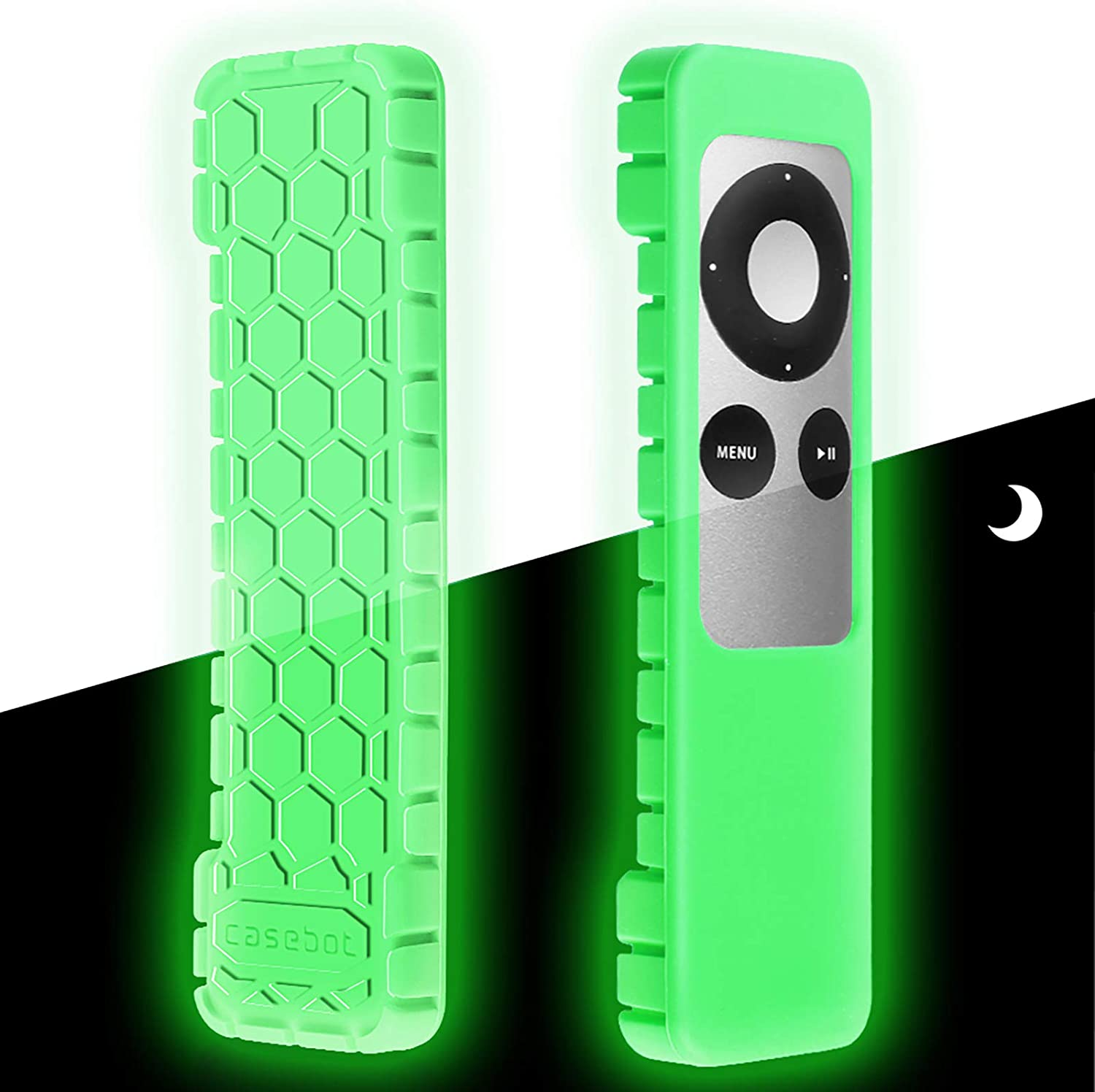 Fintie Protective Case for Apple TV 2 3 Remote Controller - CaseBot (Honey Comb Series) Light Weight (Anti Slip) Shock Proof Silicone Sleeve Cover, Green Glow in The Dark