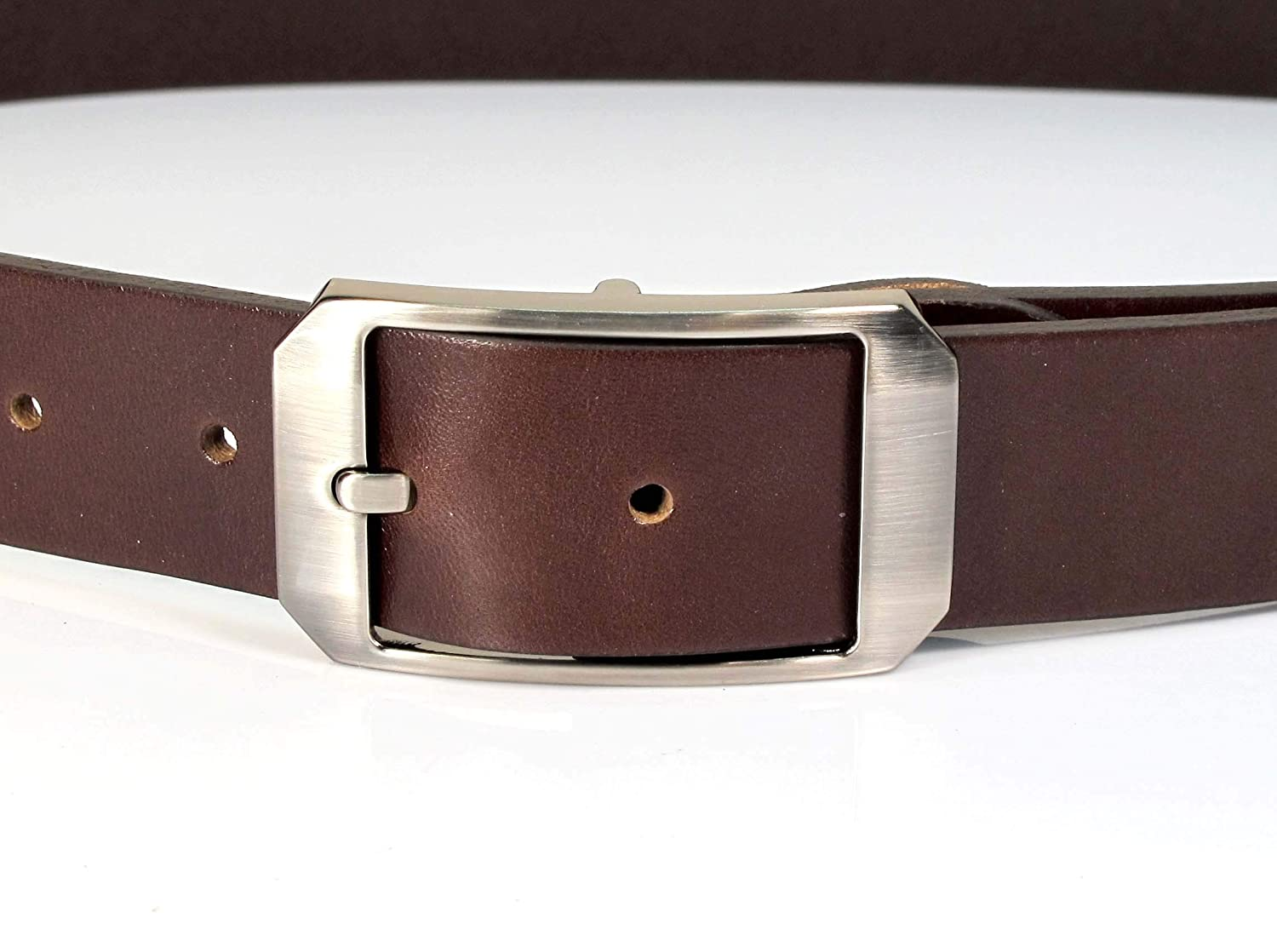 Mens Real Genuine Leather Dark Brown Belt 1.25 Wide S-L Thick Casual Jeans UM5
