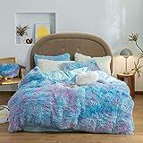 SUCSES Tie Dyed Duvet Cover Set Twin Size, Plush Shaggy Soft Velvet Fuzzy Bedding Set with 2 Pillow Shams, Blue