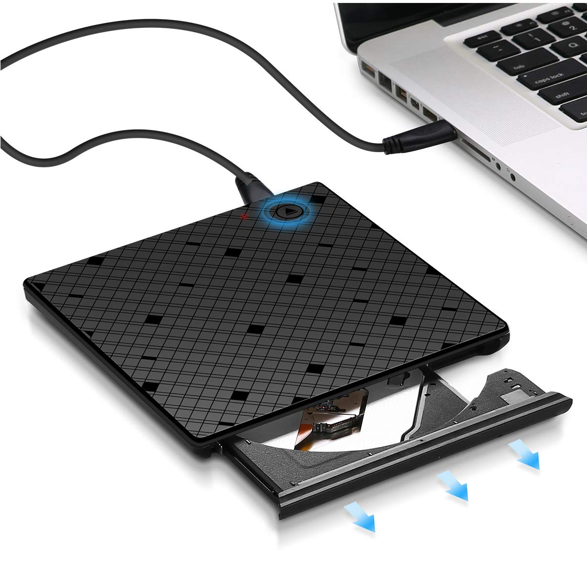 YAHEY External CD Drive USB 3.0 DVD Drive for mac External Disk Drive Player with Touch Control Eject Button Compatible with All Desktop Computers and laptops