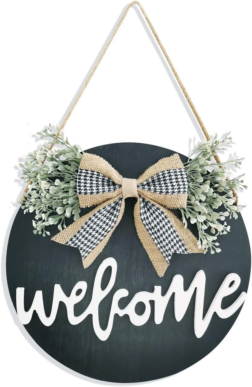 Welcome Sign Porch Decor, Rustic Wooden Door Hangers Front Door Outdoor Hanging Vertical Sign (Black)