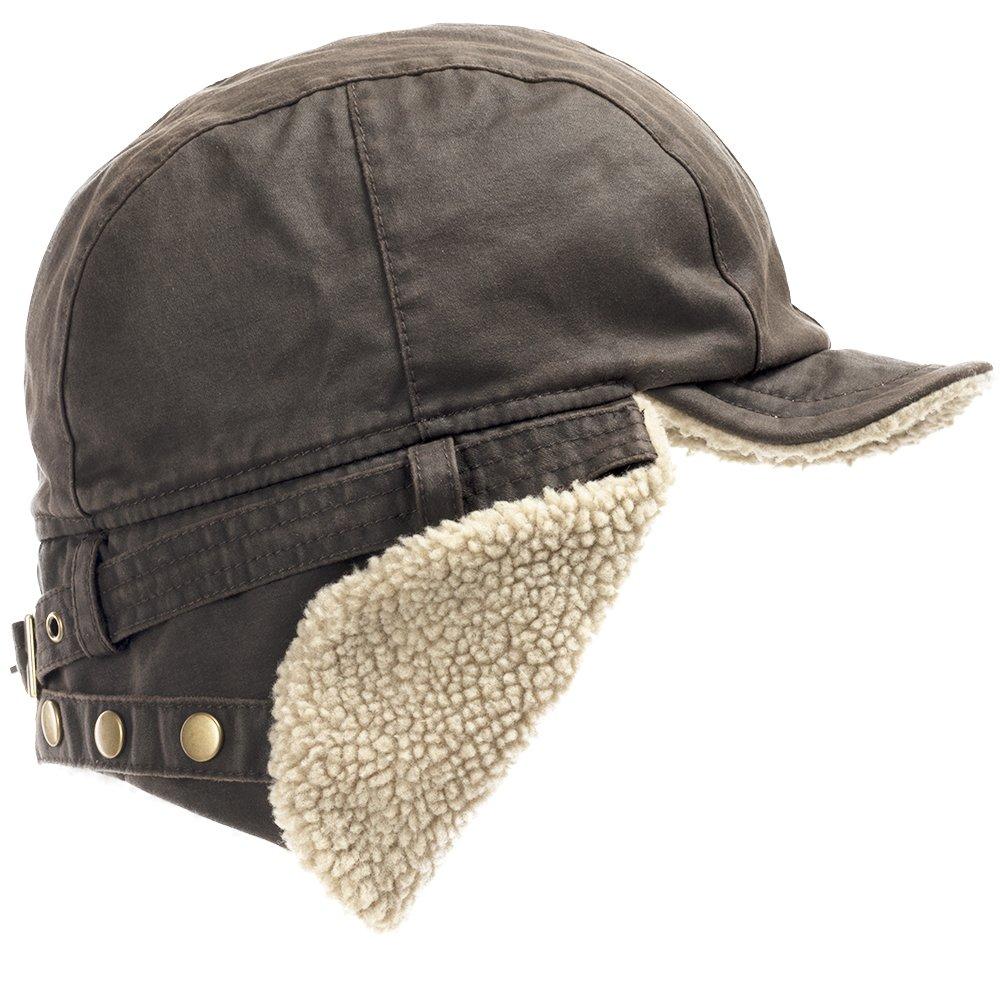 Best Pilot Trooper Aviator Cap Faux Leather Hat Ushanka Trapper BROWN 7 1/2