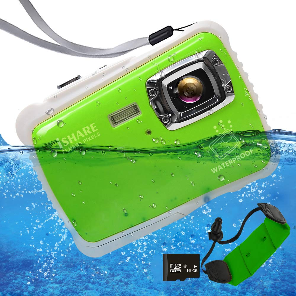 Waterproof Digital Camera for Kids, ISHARE 21MP Kids Camera 3M Underwater 2.0'' LCD, 8X Digital Zoom, Flash Mic for Girls/Boys (Green Float Strap 16G Card) by ISHARE