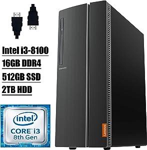 Lenovo Ideacentre 510A 2020 Premium Desktop Computer I 8th Gen Intel Quad-Core i3-8100 Processor I 16GB DDR4 512GB SSD 2TB HDD I DVD Wi-Fi Bluetooth 4.2 USB Win 10+ Delca HDMI Cable