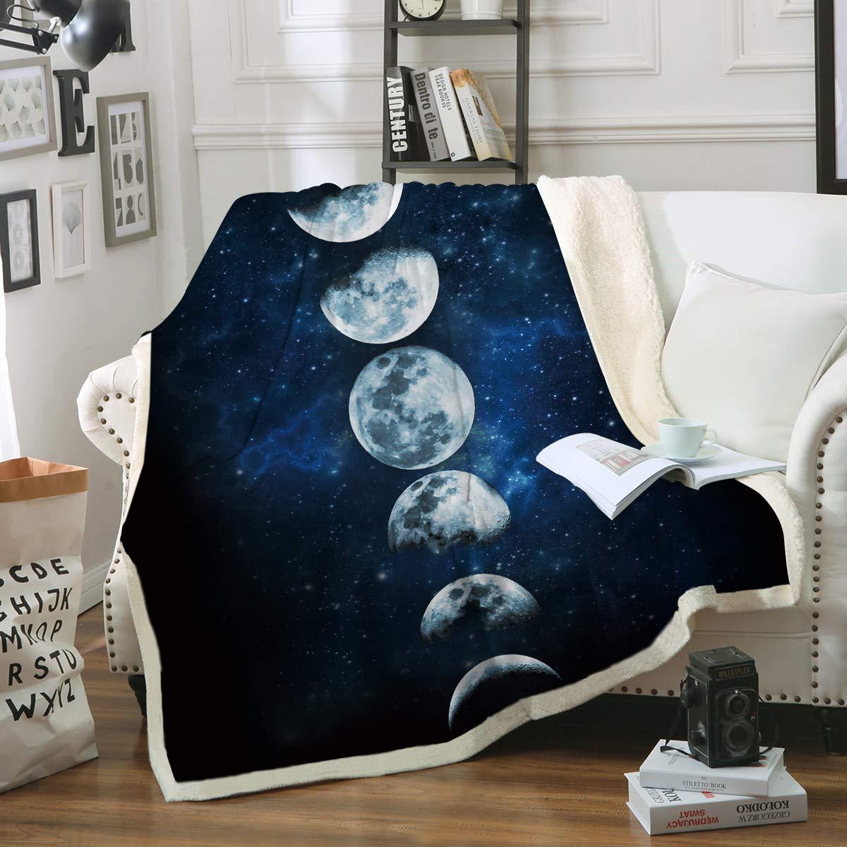 Sleepwish Lunar Eclipse Blanket Moon Phases Blanket Celestial Fleece Blanket Dark Blue Sherpa Throw Blanket College Dorm Blanket (60''x 80'')