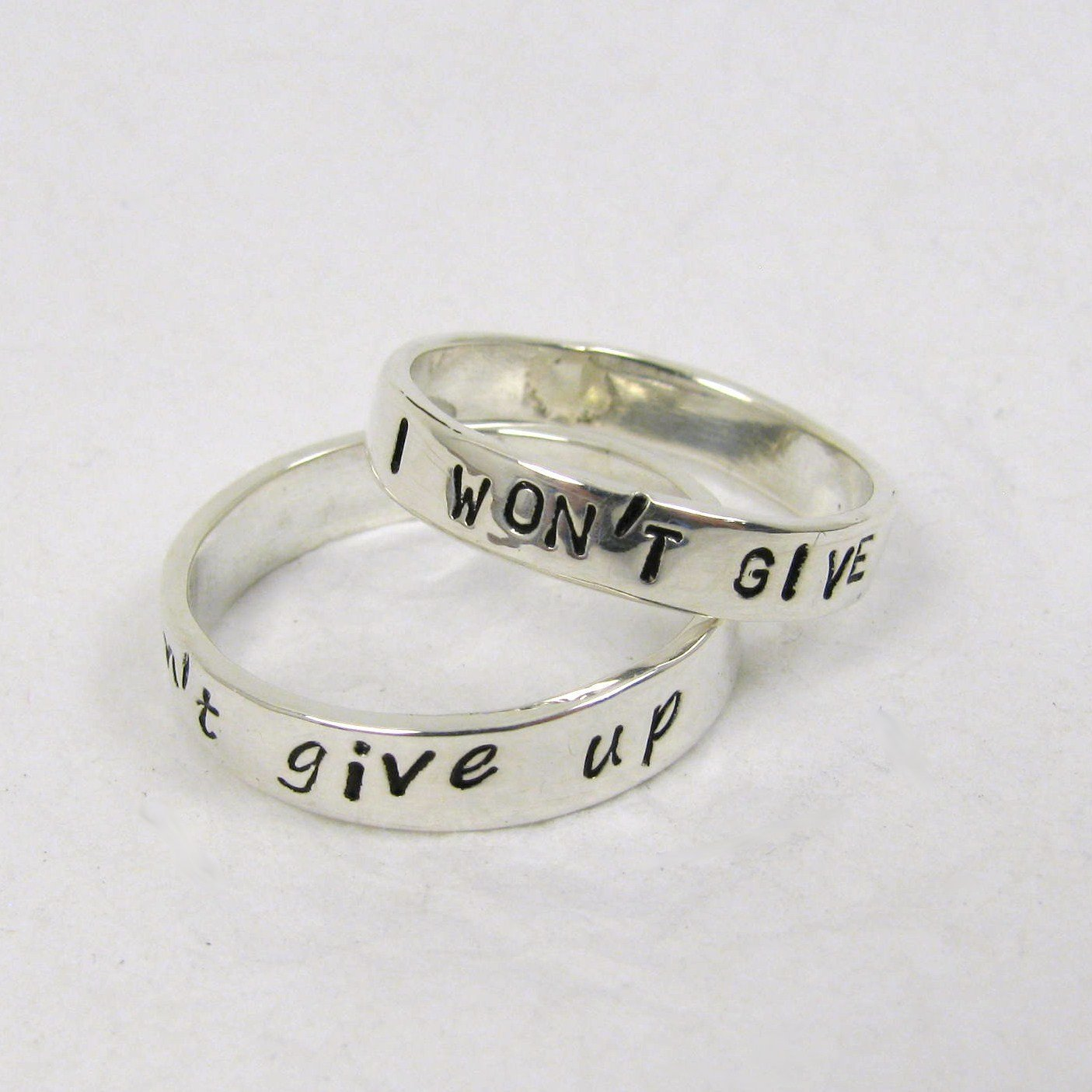 Amazon.com: Pure Silver Personalized Promise Rings, 3 or 4 mm wide ...