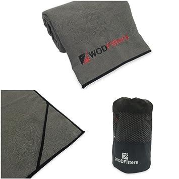 WODFitters - Toalla para Yoga - Microfibra - Gris con Detalles en Negro: Amazon.es: Deportes y aire libre