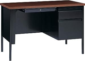 Lorell Fortress Series Walnut Laminate Top Pedestal Desk, Black