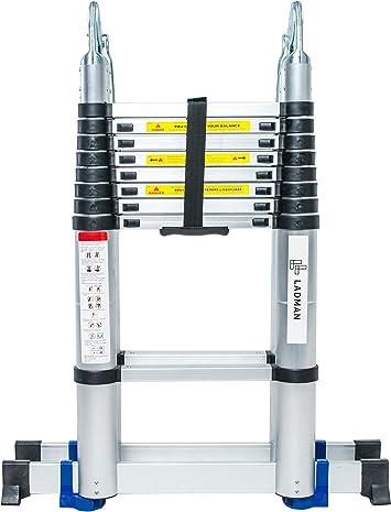 Escalera LADMAN® Tijera Plegable Telescópica 5.6 m Aluminio Sólida Extensible Multifunción Duradera con 2 Estabilizadores: Amazon.es: Bricolaje y herramientas