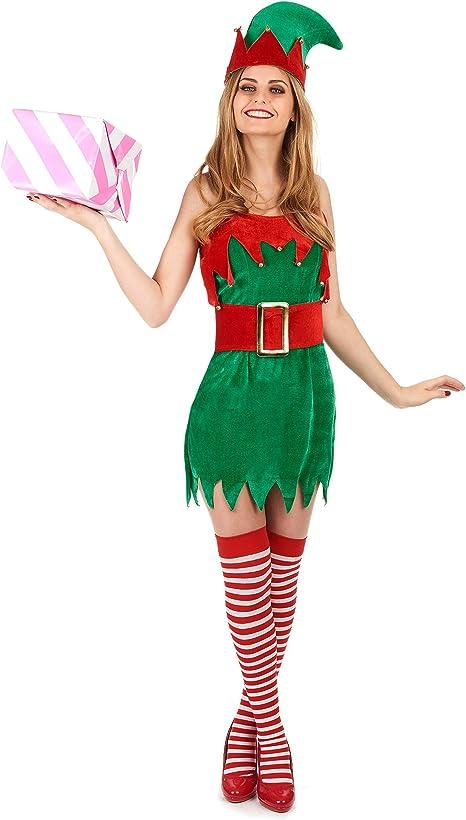 Disfraz de duende de Navidad para mujer M / L: Amazon.es: Juguetes ...