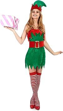 Disfraz de duende de Navidad para mujer M / L: Amazon.es ...