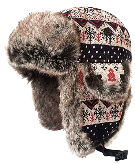 0057855bfed LOUECHY Kamosa Knit Trapper Hat Warm Ski Cap Outdoor Winter Hats 2121-M  Brown