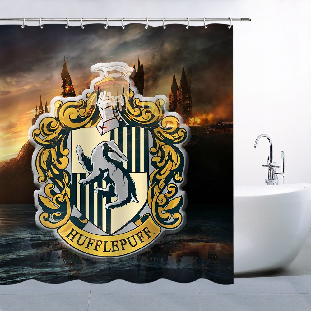 Lileihao Harry Potter Hogwarts Magic Badge Logo on The Retro Wooden Shower Curtains Bathroom Waterproof Polyester 69 x 70 inch Home Bath Supplies Accessories Decoration Multipurpose Curtain Set