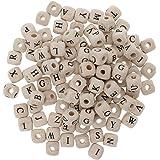 Perfeclan 木製 ビーズ 穴あり レター付き 立方体 吊りペンダント 工芸製作 衣装装飾 10mm  約100個入り 全2色 - 白, 説明したように