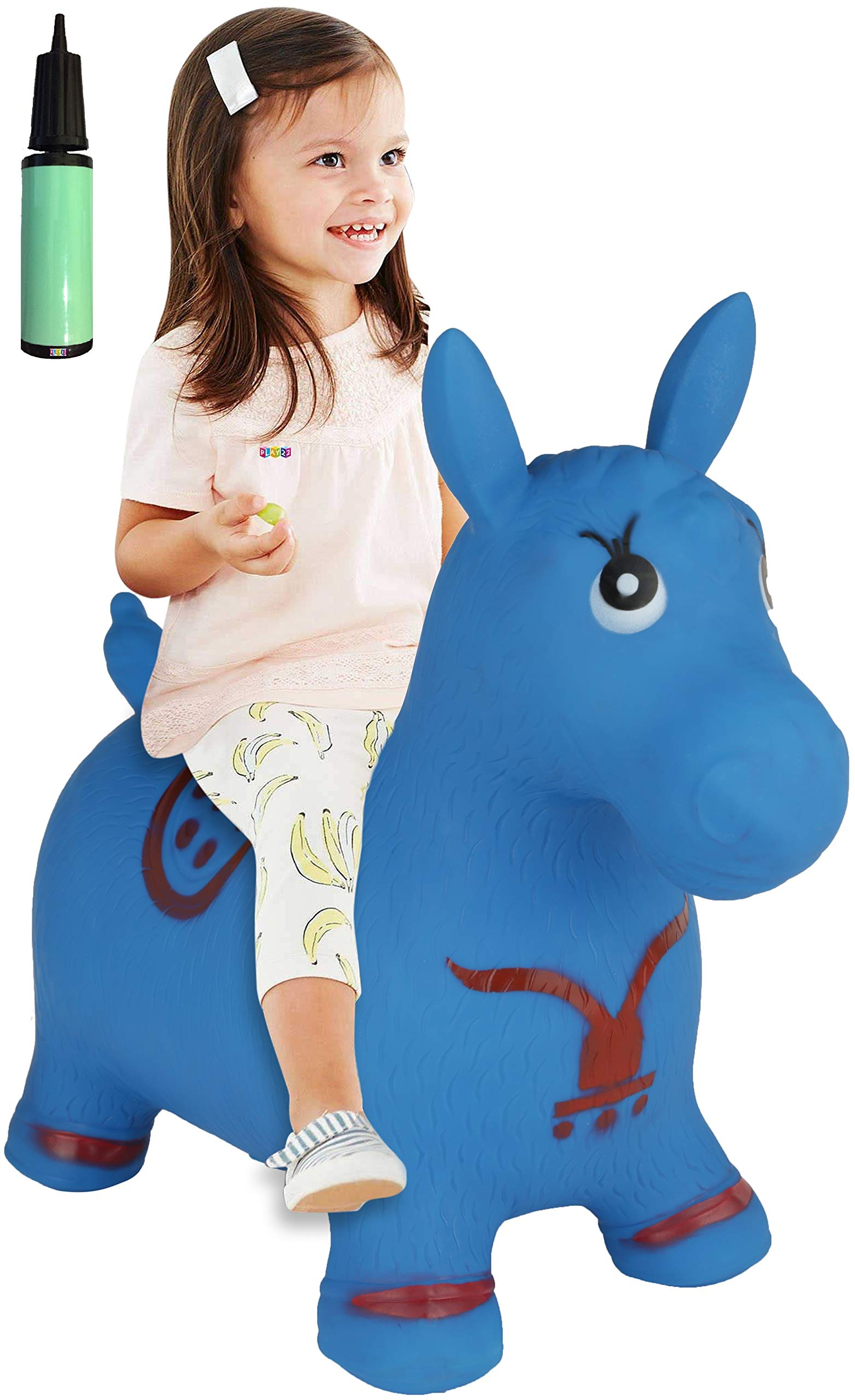 Horse Hopper BLUE - Inflatable Horse Bouncer Free Pump Included - Bouncy Horse Toys For Kids & Toddler Riding Horse Toy Great For Indoor And Outdoor Toys Play - Best Gift for Boys and Girls - Original