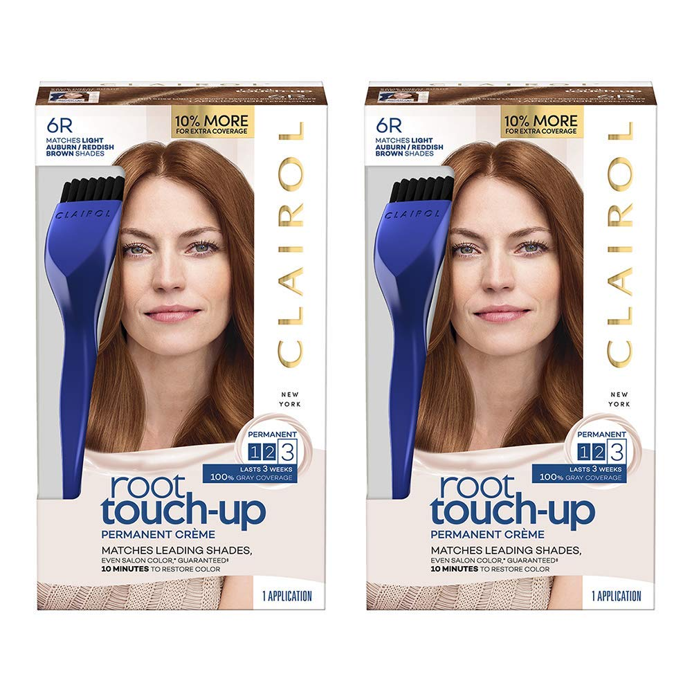 Clairol Root Touch-Up Permanent Hair Color Creme, 6R Light Auburn Brown (Pack of 2): Beauty
