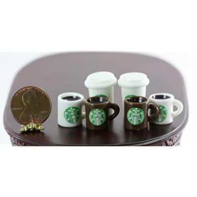 Dollhouse Miniature Set of 6 Popular Coffee Chain Cups: Toys & Games
