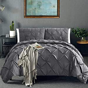 Vailge 3 Piece Pinch Pleated Duvet Cover with Zipper Closure, 100% 120gsm Microfiber Pintuck Duvet Cover, Luxurious & Hypoallergenic Pintuck Decorative(Queen,Dark Grey)