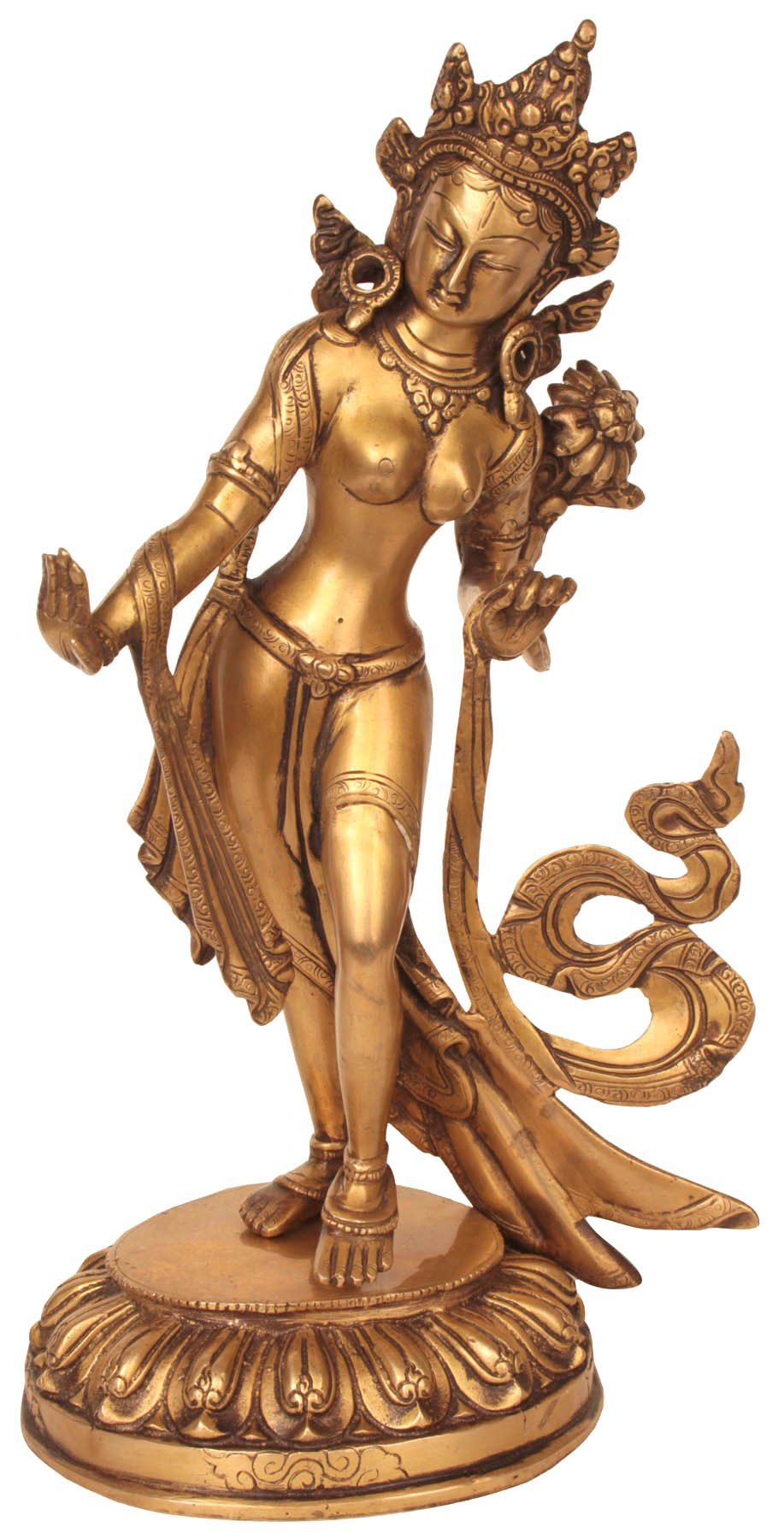 Standing Tara Dhoti Engraved with Floral Motifs - Brass Sculpture