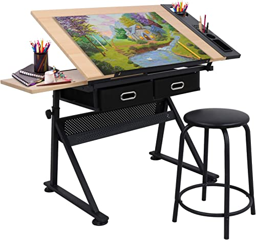 Adjustable Height Drafting Desk Drawing Table Tiltable Tabletop