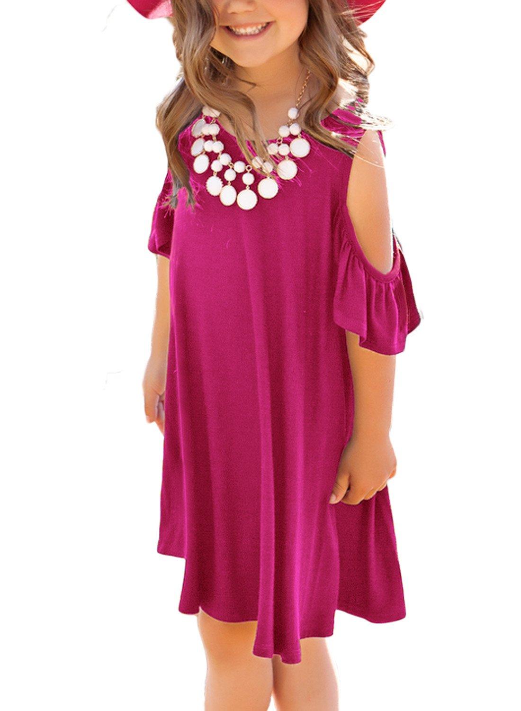 Dokotoo Girls Kid Casual Loose Summer Cold Open Shoulder Short Sleeve O Neck Swing Tunic Midi Holiday Dresses Rose Medium 6-7 Years