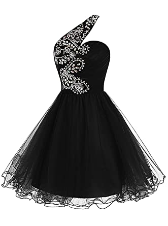 Victoria Prom One Shoulder Tulle Prom Dress Short Beading Homecoming Dress Black us2