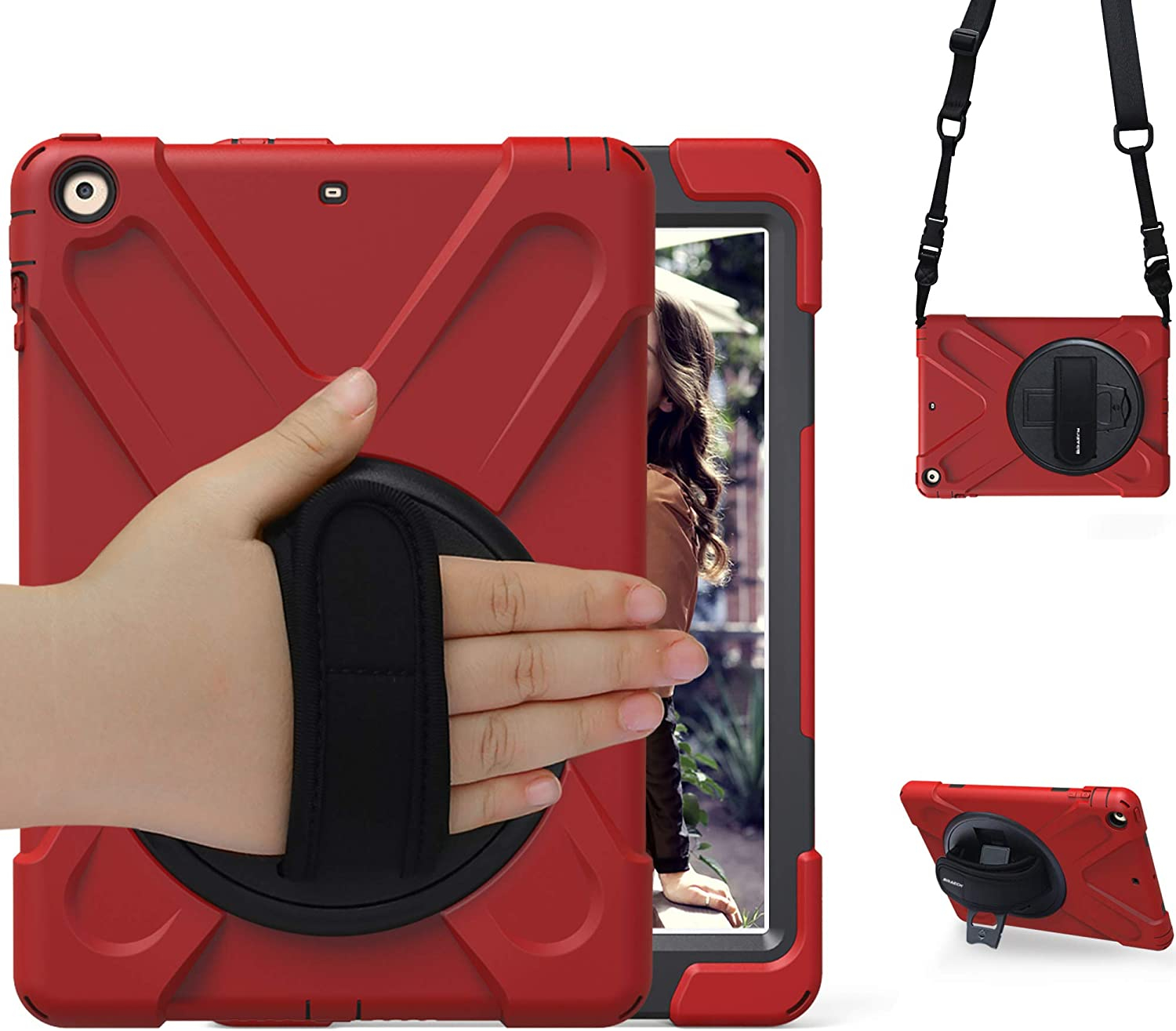 BRAECN iPad Air Shockproof Case [Heavy Duty] Full-Body Rugged Protective Case with 360 Degree Swivel Kickstand/Hand Strap/Shoulder Strap for iPad Air A1474 A1745 A1476 Case(Red)