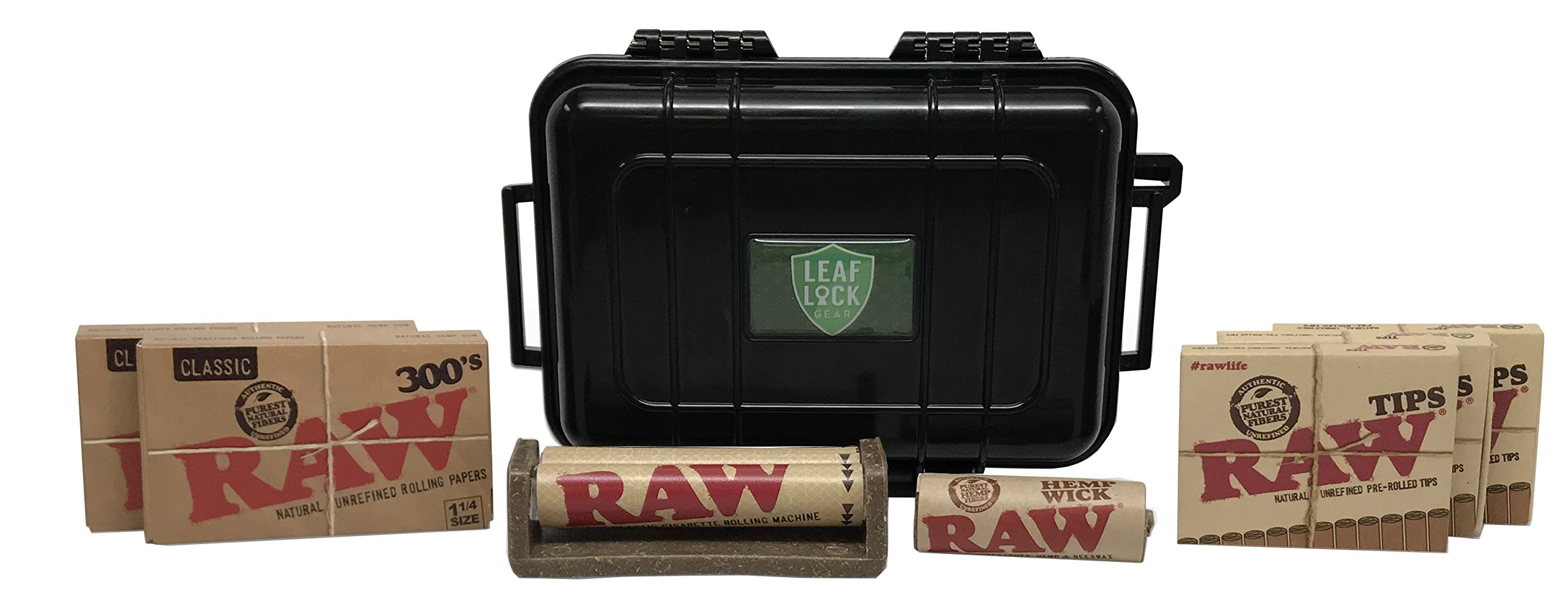 RAW 300 Rolling Papers(2 Packs), Pre-Rolled Tips(3 Packs), 79mm Roller, Hemp Wick - 20 Feet, with Leaf Lock Gear Travel Case - 8 Item Bundle